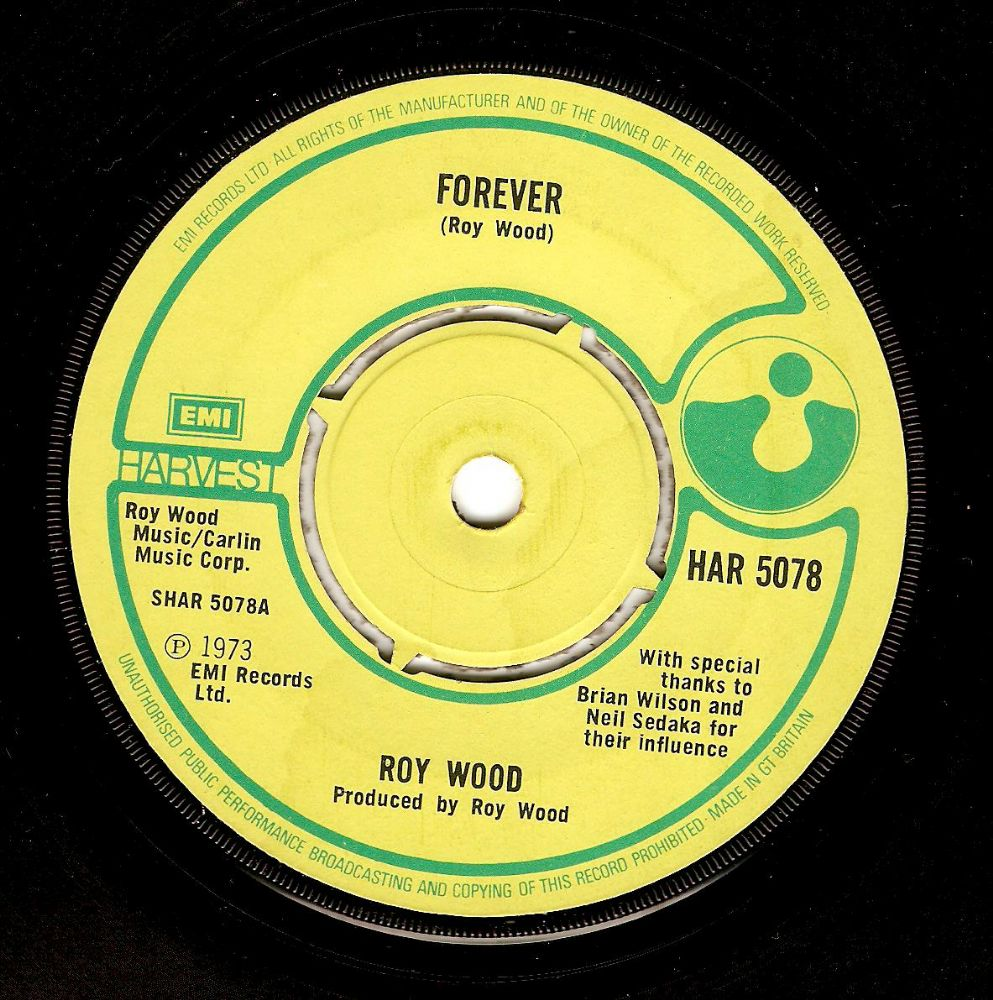 ROY WOOD Forever Vinyl Record 7 Inch Harvest 1973